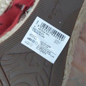 Clarks Shoes - Clark's Red Espadrille Petrina Gail Wedge Sandal